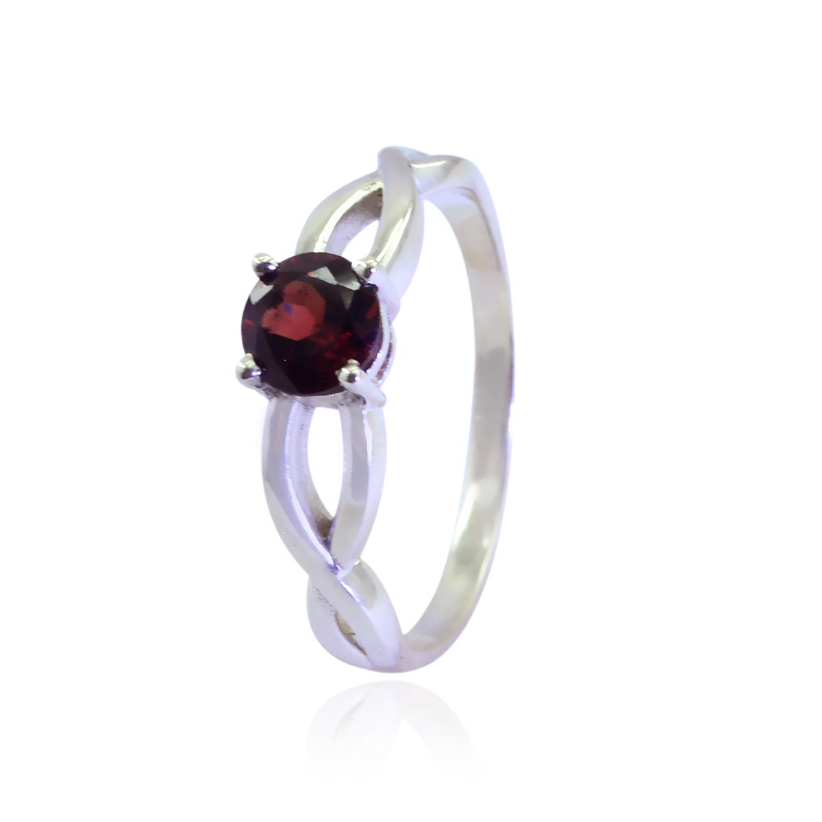Lucky Gemstone Round Faceted Garnet Ring Sterling Silver Red Garnet Lucky Gemstone Ring fine Jewellery Shops Gift for Mothers Day Initial Ring