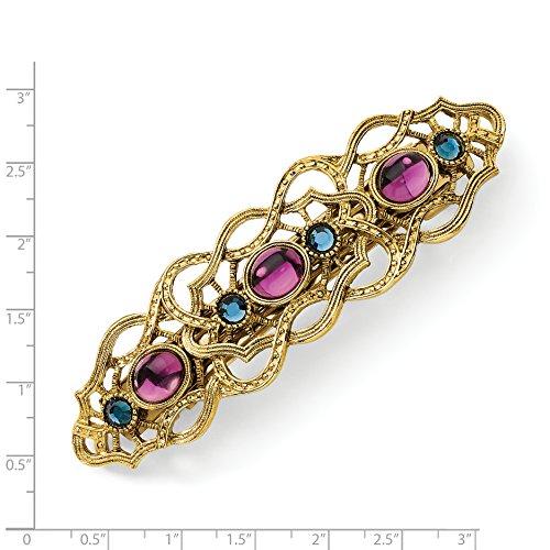 - Jewelry Pot Brass-tone Blue and Dark Purple Crystal Filigree Barrette
