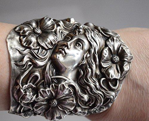 - Art Nouveau Goddess Antique Redlich Solid Sterling Silver 925 .925 Wide Cuff Bracelet Maiden Bracer Lady Face Victorian Floral Runway Statement