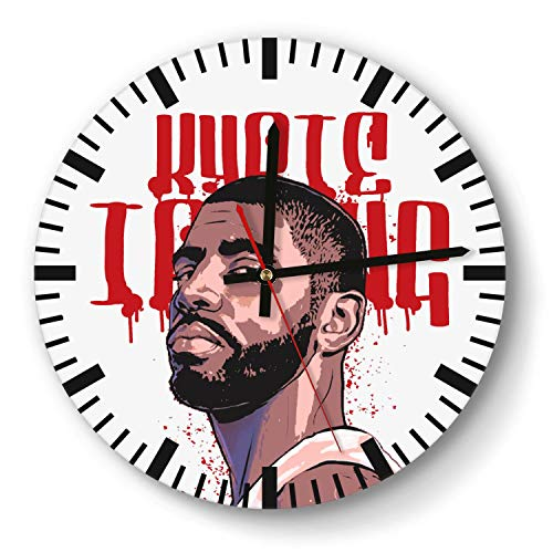 Decorative Basketball Game Theme Wooden Wall Clock 11 Inch Round Acrylic Non Ticking Silent Sweep Movement Simple Battery Operated Easy to Hang Home Office School Indoor Kitchen Livingroom