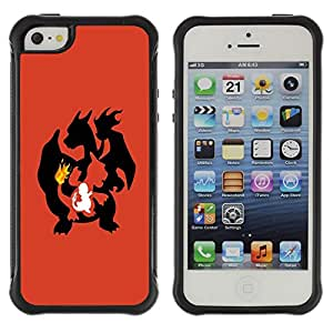 BullDog Case@ Poke Flaming Dragon Rugged Hybrid Armor Slim Protection Case Cover Shell For iphone 5S CASE Cover ,iphone 5 5S case,iphone5S plus cover ,Cases for iphone 5 5S