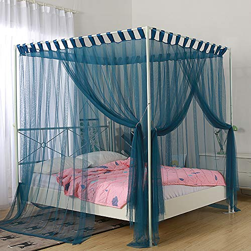 Mengersi Simple 4 Corners Post Curtain Bed Canopy Bed Frame Canopies Net,Bedroom Decoration Accessories(Queen,Blue)