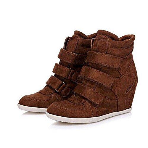 NSXZ Women's Fashion Height Increasing Short Boots 35-BROWN C8ysCZq