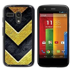 Be Good Phone Accessory // Dura Cáscara cubierta Protectora Caso Carcasa Funda de Protección para Motorola Moto G 1 1ST Gen I X1032 // Chevron Gold Bling Brushed Metal Texture