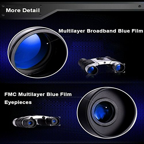 Merytes 10x25 Portable High Definition and Blue Film Binoculars for Daily Waterproof IPX3