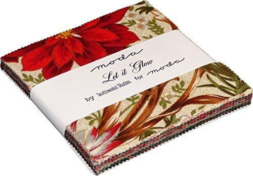 Moda LET IT GLOW METALLIC Precut 5-inch Charm Pack Cotton Fabric Quilting Squares Assortment Sentimental Studios 33000PP by Moda Fabrics ()