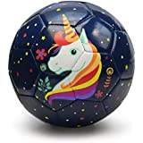 Picador Toddler Soccer Ball Toy Cute Cartoon TPU Soccer Toy Gift with Pump (Dark Blue Unicorn)