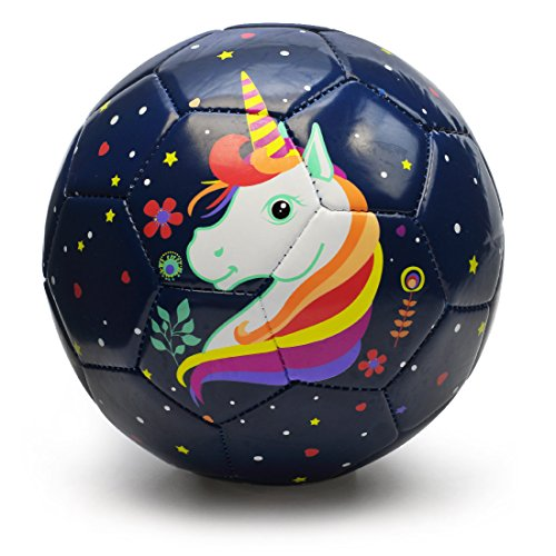 (PP PICADOR Toddler Soft Soccer Ball Cute Cartoon Kids Ball Toy Gift with Pump for Children's Day, Girls, Boys, Student, Kindergarten (Dark Blue Unicorn, Size 3))