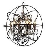 6 Candelabra Crystal Chandelier Rustic Lamp Antique Atom Orbed Frame For Sale