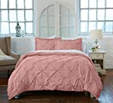 Great Bay Pinch Pleated Pintuck King Duvet Cover & Shams, Rose Smoke Deal