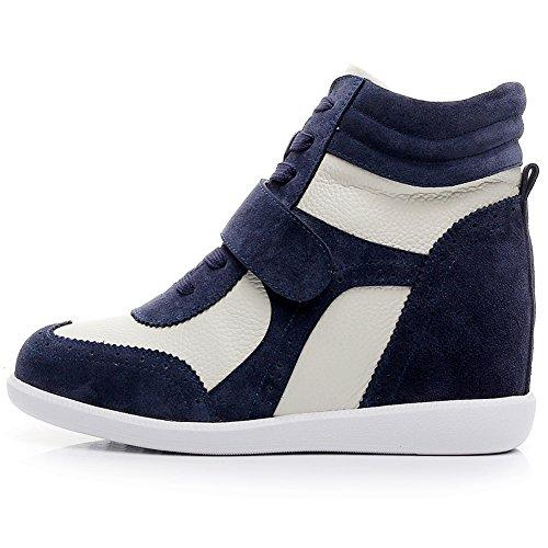 Confortable amp;tissu Classique Mode Marine Chaussures Mignon Boucle amp;beige Suede Femmes Baskets Rismart Compensee tEWPnqn0