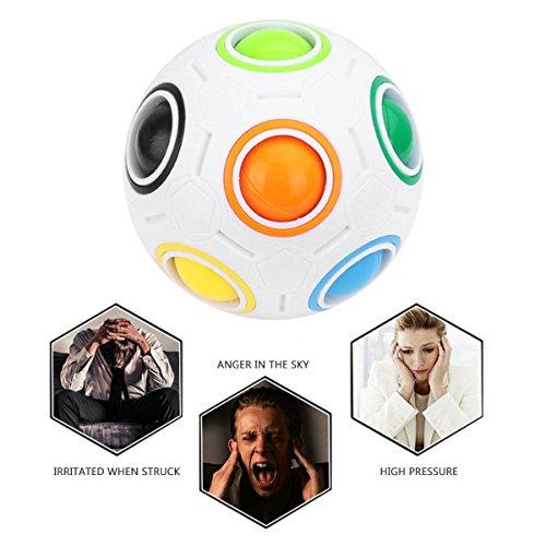 2 pcs Arc-En-Ball Magic Ball Jouet Puzzle Magique Arc-En-Ball Pour Enfants Jouet Éducatif Adolescents Adultes Stress Reliever Malloom Pop Lumineux Stress Reliever Bleu et Blanc par Proacc