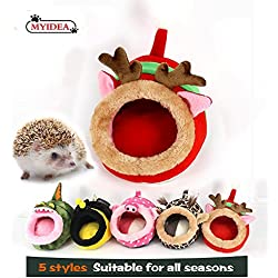 MYIDEA Hamster Nest - Hedgehog Litter,Suger Glider, Lizard,Hamster Hideout & Small pet Animals Bed/Cube/House, Habitat, Lightweight, Durable, Portable, (Small Pet - S, Red elk)