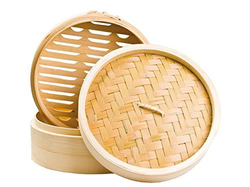 Bambusdä mpfer 3-teiliges Set 30, 5cm STABILER Bamboo Steamer China