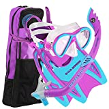 U.S. Divers Youth Flare Jr Silicone Snorkeling Set Fun Purple Small 1-3