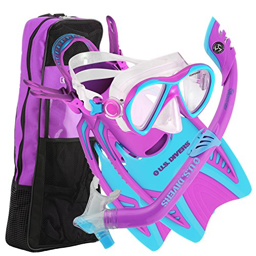 U.S. Divers Youth Flare Jr Silicone Snorkeling Set Fun Purple Large - Kids Flare