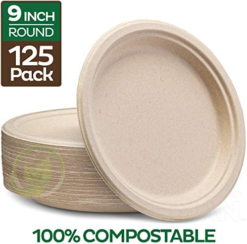 Stack Man Plates [125-Pack] Heavy-Duty Quality Natural Disposable Bagasse Eco-Friendly Made of Sugar Cane Fibers 9 inch Brown
