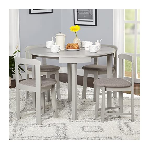 """Target Marketing Systems Zuma Collection Compact Set 5-Piece Round Nesting Dining Table & Chairs, Gray - Compact Dining Set: The Zuma Collection 5 Piece Nesting Dining Set Has A Chair Dimension Of 16.5"""" W x 16.5"""" D x 28.75"""" H, Table 41.3"""" W x 41.3"""" D x 29.6"""" H, Assembly Required. Space Saver Design: This Small Dining Table Set Is Made of MDF With Veneer, Rubberwood, Vinyl And Foam With A Gray Finish. Modern Design: This Mid Century Modern Dining Table Set Features A Round Table That Seats Four People And Has Four Angled Upholstered Padded Dining Seats. - kitchen-dining-room-furniture, kitchen-dining-room, dining-sets - 51l3Pw4GrYL. SS570  -"""