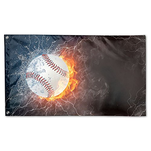 Jmirelife Baseball Ice And Fire Garden Flag 59 X 35 Inch Decorative Colorful Yard Flags Indoor&Outdoor Home Fall Flags Holiday -