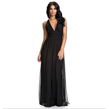 LQ-dress Vestido de cóctel - Falda Larga de Gasa Plisada Vestido ...