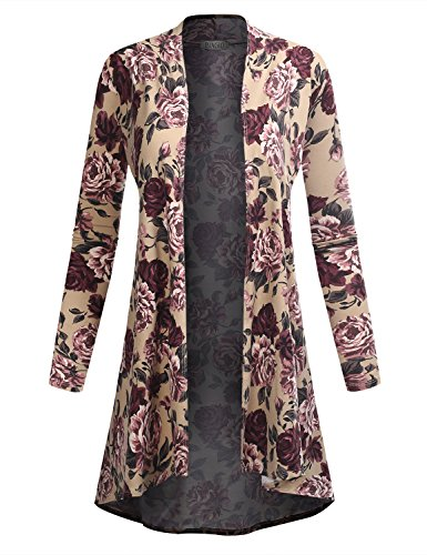 BIADANI Women Long Sleeve High Low Drape Floral Print Cardigan 61039 Taupe - Petite Print Cardigan
