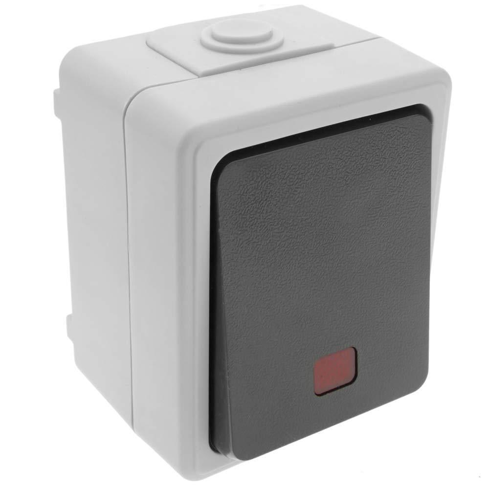 BeMatik - Base de Superficie estanca IP54 10A 250V con Interruptor conmutador LED BeMatik.com
