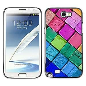 QCASE / Samsung Note 2 N7100 / colores lápices de colores neón gráfico del arte de rosa púrpura / Delgado Negro Plástico caso cubierta Shell Armor Funda Case Cover
