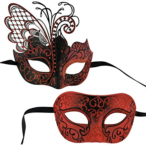 Xvevina One Pair Halloween Masquerade Mask for Couples Glitter Butterfly Decoration Red Black]()