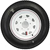 "LoadStar 5-hole 12"" x4"" Red & Blue Pin Stripe White Spoke Trailer Wheel and Tire 5.30-12 6PLY"