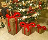 Set of 3 indoor, Outdoor Decorative Christmas & Holiday Present, Packages, Ribbons, Bows, Hand Sculpted Gifts