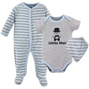 Luvable Friends Baby Sleeper, Bodysuit and Bandana Bib Set, Little Man, 0-3 Months