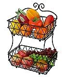 Denozer 2 Tier Fruit Baskets - Metal Bread Storage Basket Stand with Free Screws for Fruit, Vegetables, Snacks, Black
