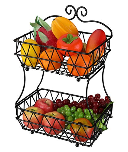 (Denozer 2 Tier Fruit Baskets - Metal Bread Storage Basket Stand with Free Screws for Fruit, Vegetables, Snacks,)