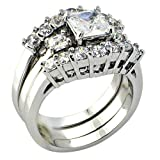 Anniversary 3 Ct. Princess Cut Cubic Zirconia Cz Bridal Engagement Wedding 3 Piece Ring Set (7)