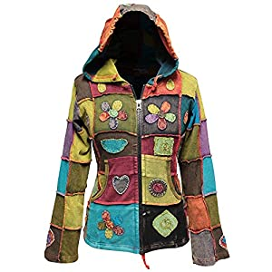 SHOPOHOLIC FASHION Mujer Love Peace Patchwork Hippy Sudadera con capucha | DeHippies.com