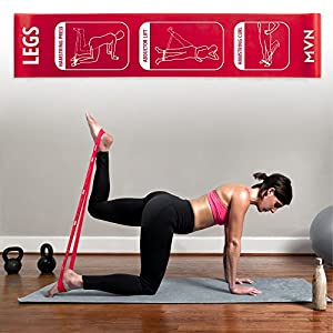 MVN Resistance Bands Set Exercises Guide Printed on Loop Bands to Tone Legs Butt Core and Arms Pilates Yoga Fitness Physical Therapy Rehabilitation with Storage Bag by Maven Made