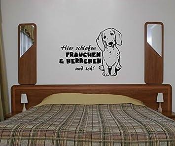 Wandtattoo Dackel Sprüche hier schlafen Frauchen & ich ...