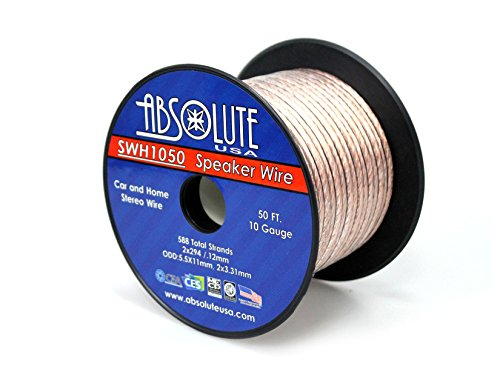 Absolute USA SWH1050 10 Gauge Car Home Audio Speaker Wire Cable Spool 50' by Absolute (Image #2)