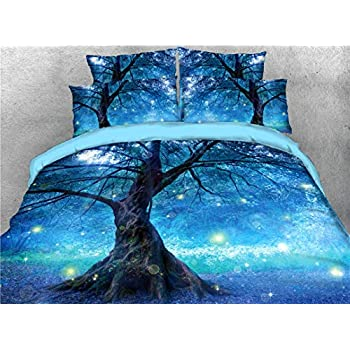 UniTendo 4-Piece Duvet Cover Sets 3D Beautiful Galaxy Boho Blue Digital Bedding High Definition Carbon Charming Tree and Star Light Print Twin Size.
