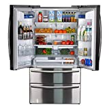 SMETA Counter Depth French Door Refrigerator Bottom Freezer, Fingerprint Resistant, 20.66 cu ft Capacity,Stainless Steel