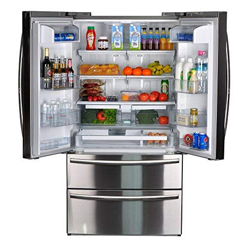 SMETA Counter Depth French Door Refrigerator Bottom Freezer, Fingerprint Resistant, 20.66 cu ft Capacity,Stainless ()