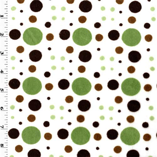 Dot Grid Minky, Fabric by The Yard (Green/Brown)