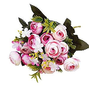 Honghong 5 Branches Artificial Camellia Silk Fake Flowers Leaf Rose Wedding Decor Bouquet 27