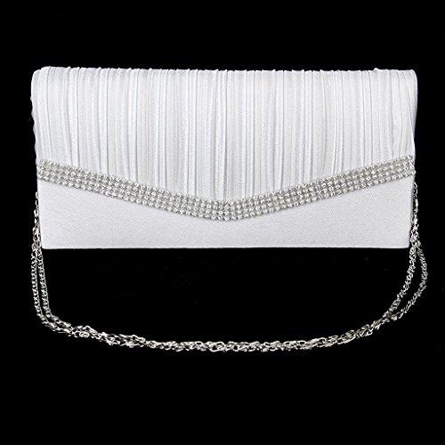 Elegante forma borsetta pochette da sera di Ivebetter Lady W/Spalla catena strass raso (colore: Bianco)