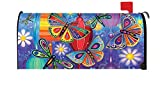 Toland Home Garden Bright Wings Colorful Butterfly Dragonfly Flower Magnetic Mailbox Cover