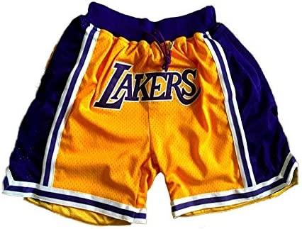 SPORTS Hombre Jersey Lakers Pantalones De Baloncesto James # 23 Pantalones Cortos Deportivos para Hombres Competición De Bordado Amarillo Pantalones ...