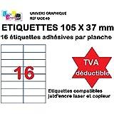 1600 Etiquettes autocollantes 105 x 37 mm soit 100 Feuilles A4 de 16 étiquettes multi-usage 105x37.1 mm compatible jet d'encre, laser et copieur - Marque UNIVERS GRAPHIQUE REF UGE162