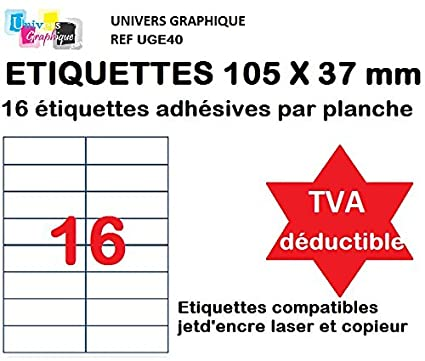 100 A4 hoja 16 etiqueta de papel etiqueta adhesiva 105 x 37 mm ...