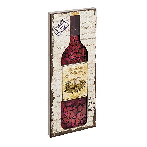 Cape Craftsmen Evergreen Mosaic Glass Wine Wood LED Wall Sign
