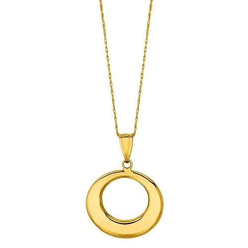 69498f339b7b 14 ct oro Amarillo caja brillante cadena anillo graduado abierto círculo  colgante collar - 46 Centi  Amazon.es  Joyería